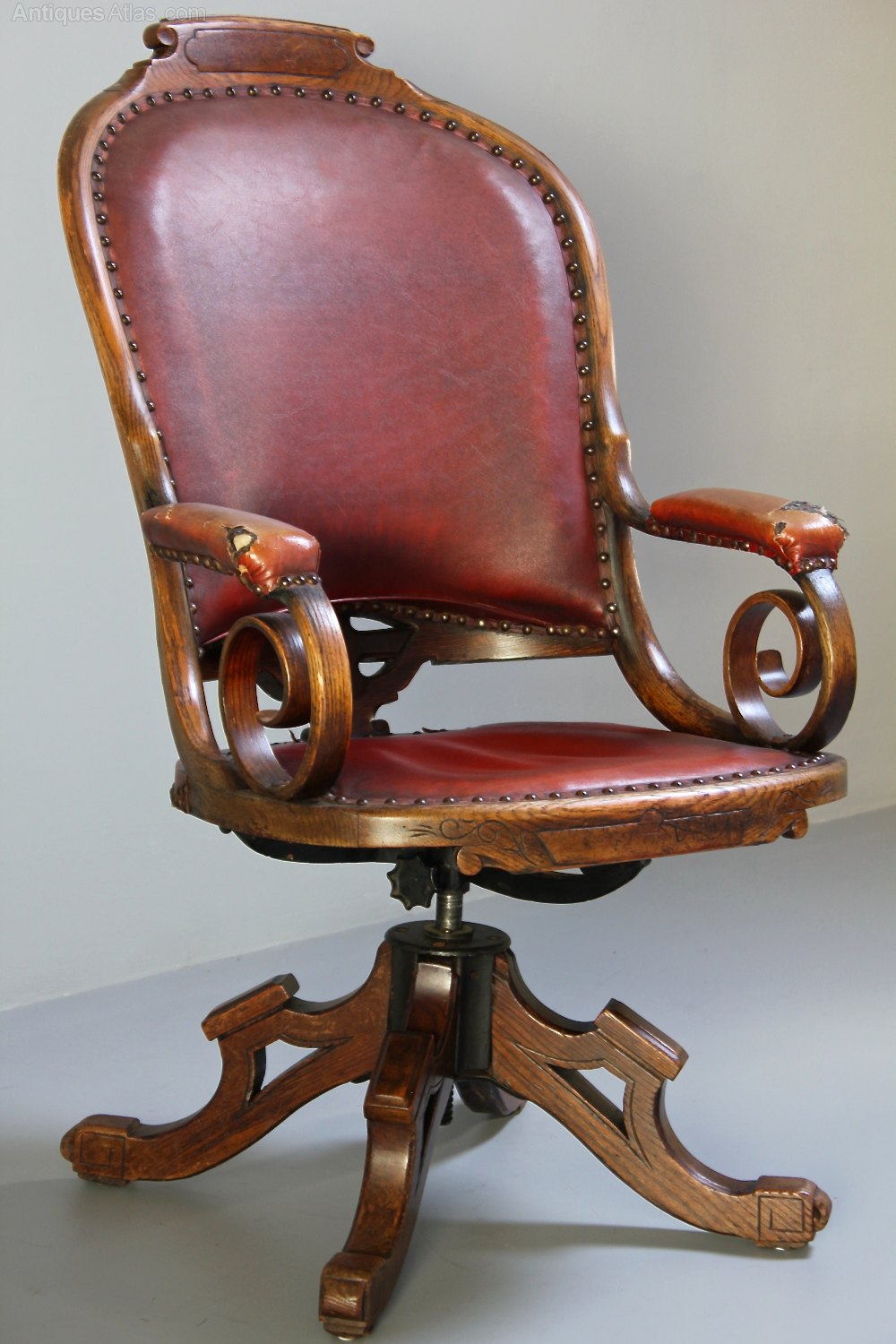 Antique Oak Chairs ~ Antique oak swivel desk chair antiques atlas