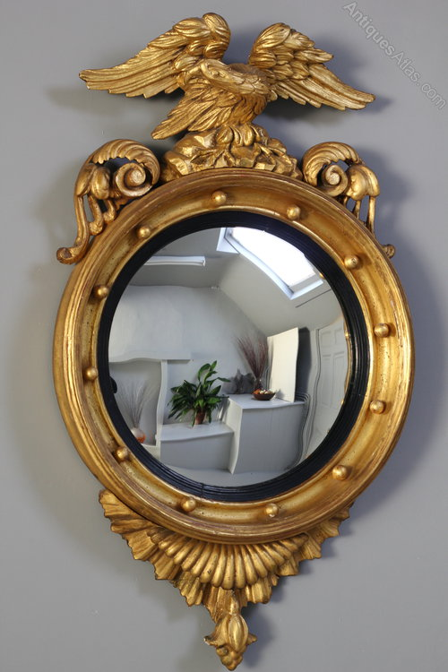 Antiques Atlas Geo Ⅳ Gilt Convex Mirror With Eagle Surmount