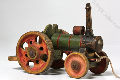 Antiques Atlas - Old Painted Wooden Toy Tractor With Trailer