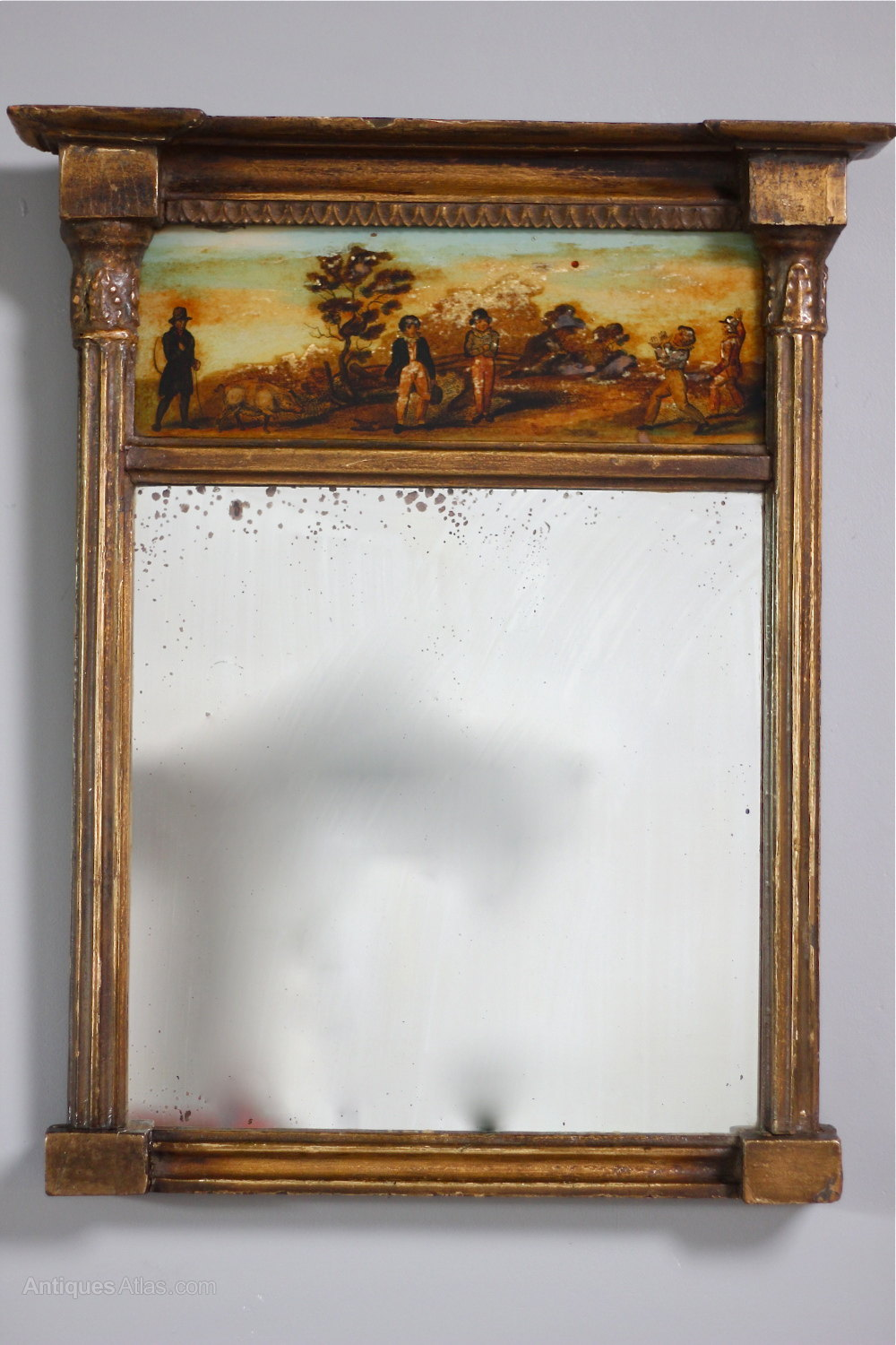 Antiques atlas small regency gilt wall mirror with print for What is a gilt mirror