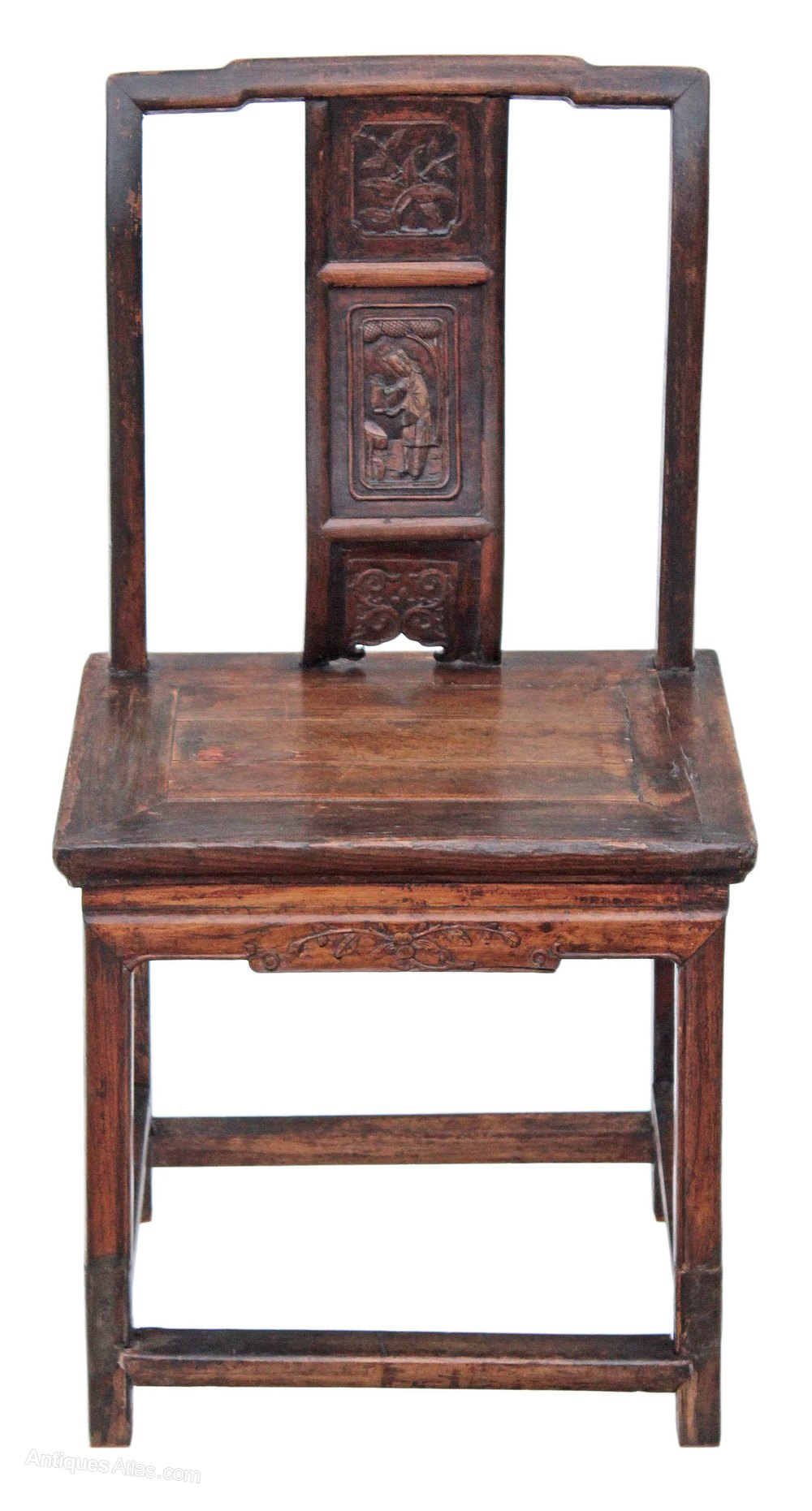 Antique Foyer Chair : C chinese carved elm chair hall side occasional
