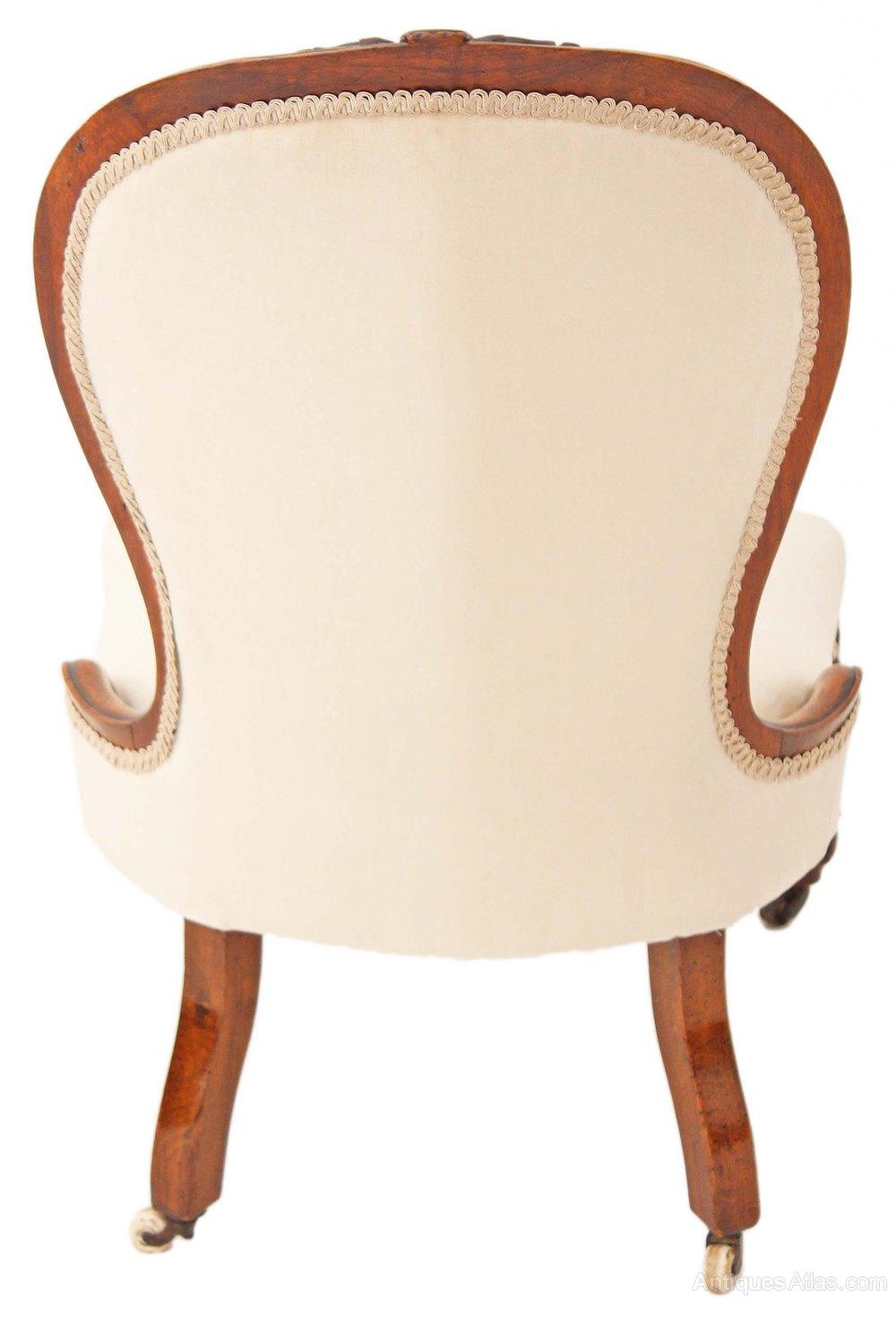 19c Victorian Carved Walnut Armchair Nursing Chair