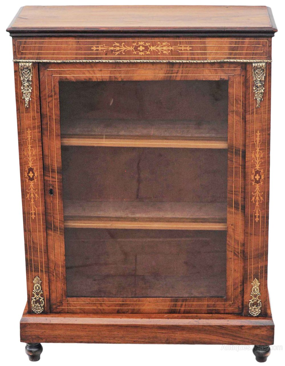 19c victorian inlaid walnut pier display cabinet for Antique display cabinet