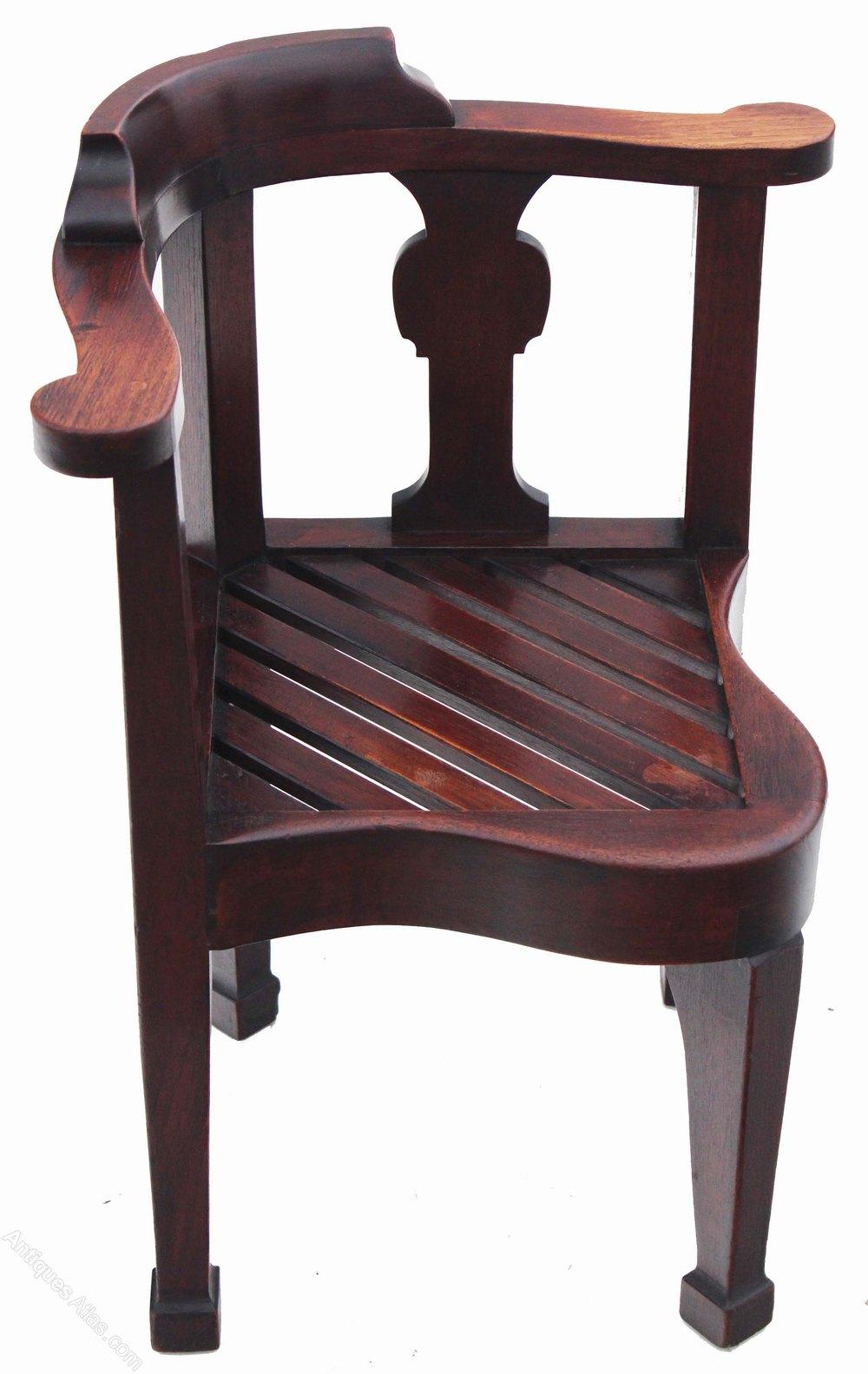 19c Oak Corner Chair Desk Armchair Hall - Antiques Atlas