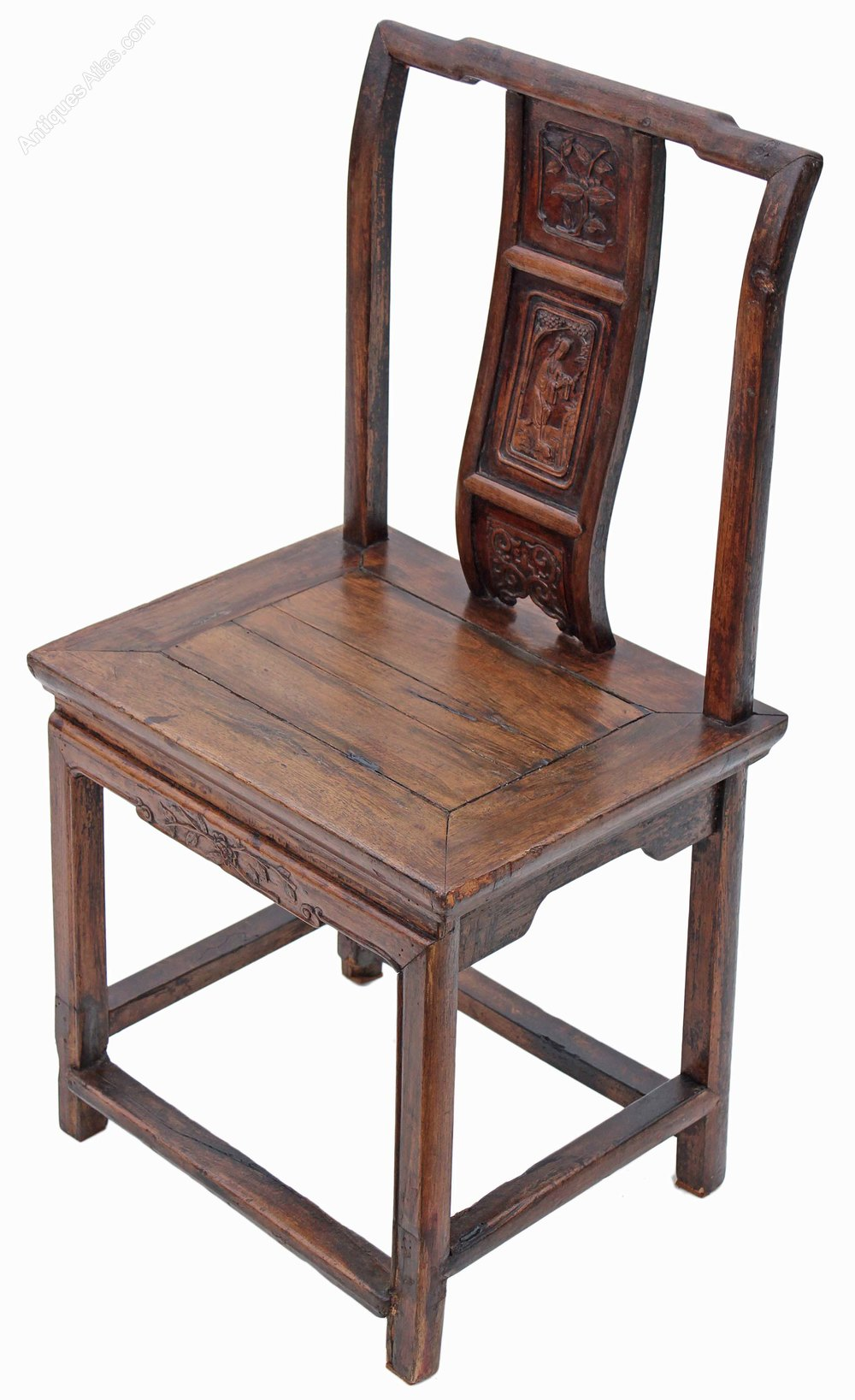 Th century chinese carved elm chair hall side antiques