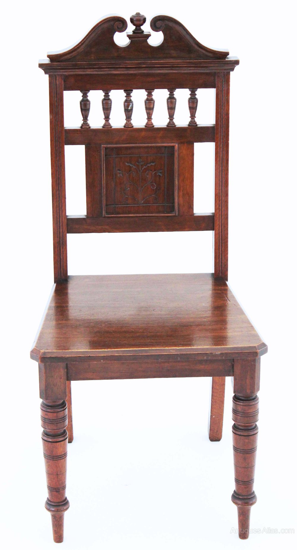 Antique Foyer Chair : Th century victorian gothic oak hall side dining