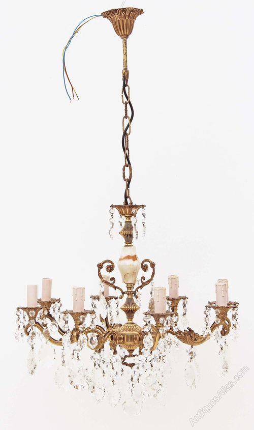 Antiques Atlas 8 Lamp Ormolu Brass Bronze Onyx Crystal