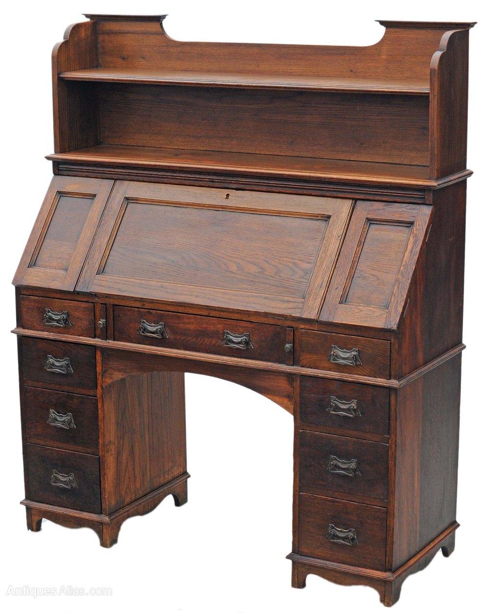 Arts and crafts bureau desk writing table bookcase for Bureau writing desk
