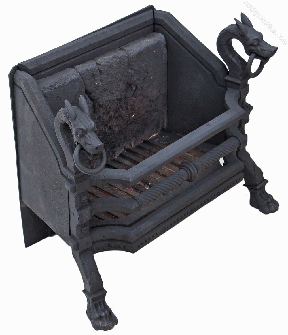 antiques atlas cast iron steel fireback grate basket with dragons