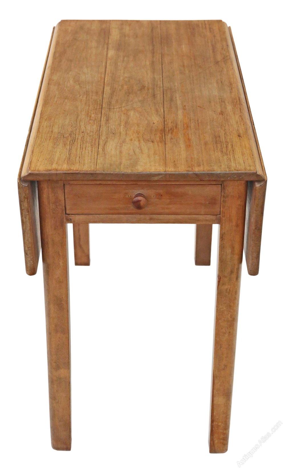 Drop leaf scrub top pine kitchen dining table antiques atlas for Antique drop leaf dining table