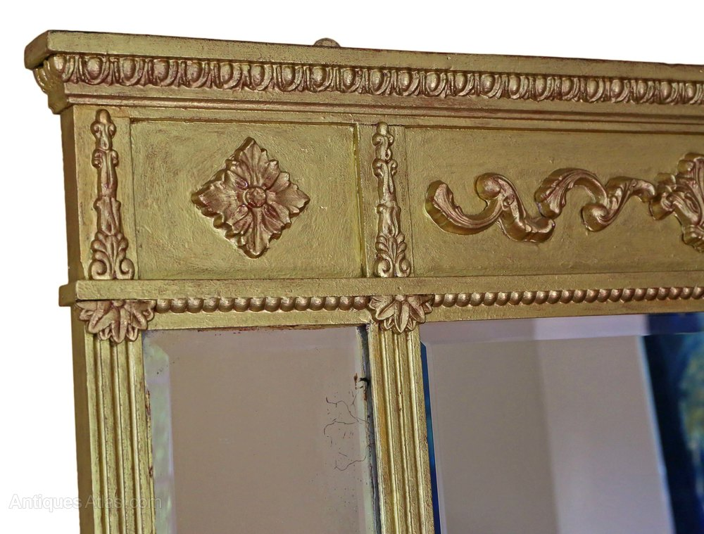 Antiques Atlas - Edwardian 3 Panel Wall Mirror Overmantle