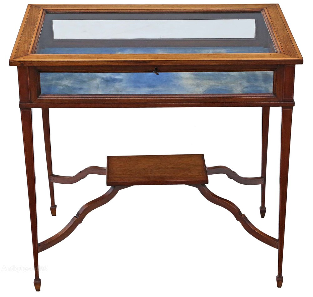 Edwardian inlaid mahogany bijouterie display table for Display table