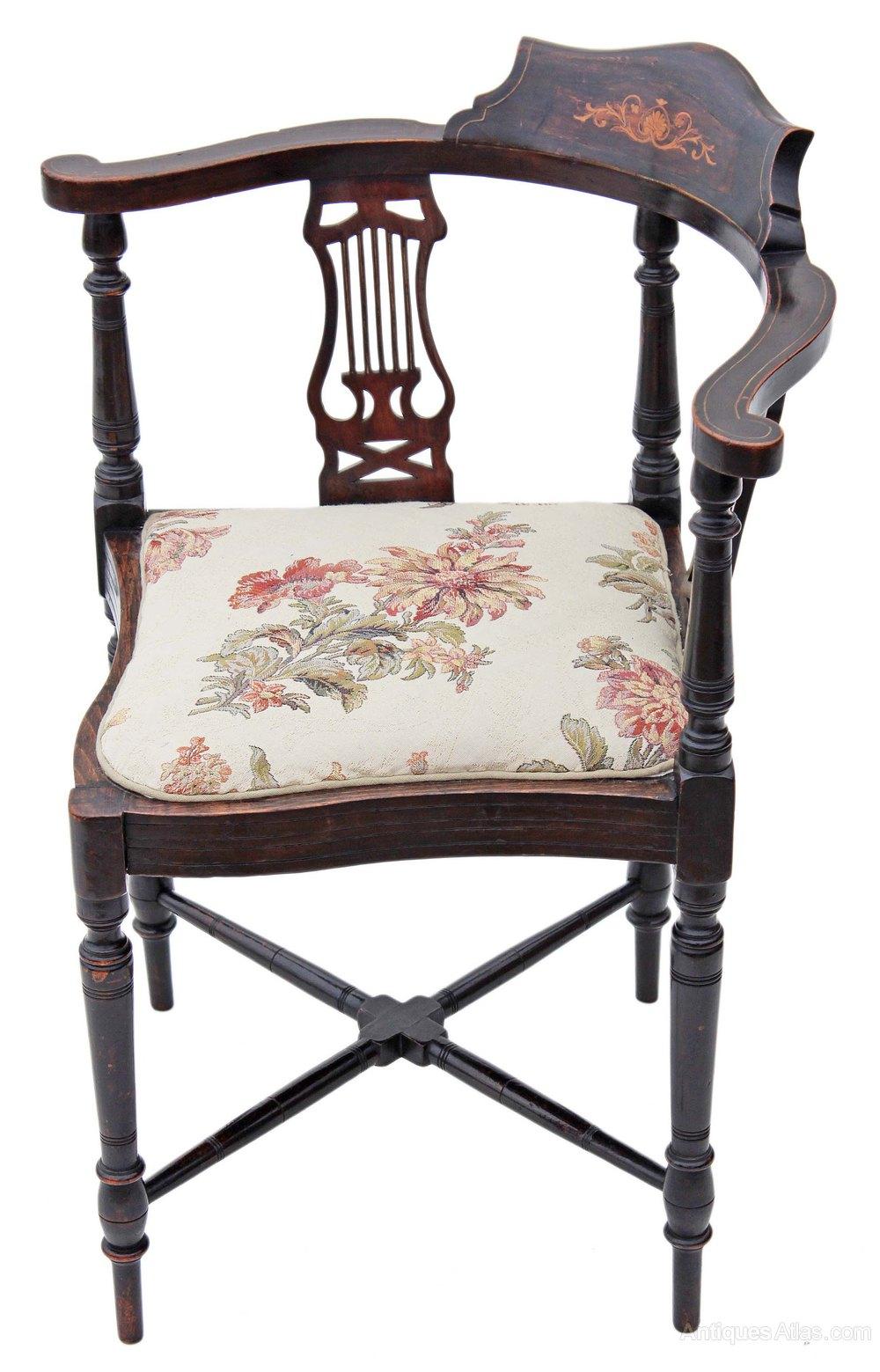 Edwardian Inlaid Mahogany Corner Chair Bedroom Antiques