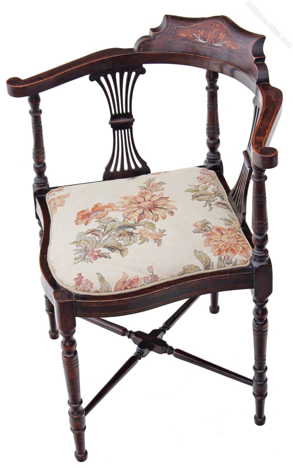 Edwardian Inlaid Mahogany Corner Chair Side Hall
