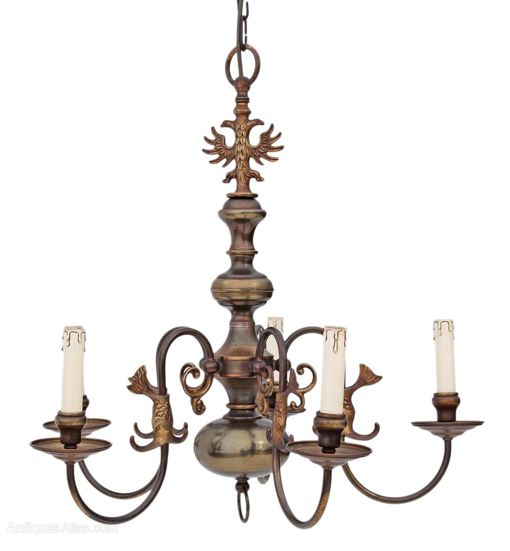 Antiques Atlas Flemish 5 Lamp Brass Bronze Chandelier