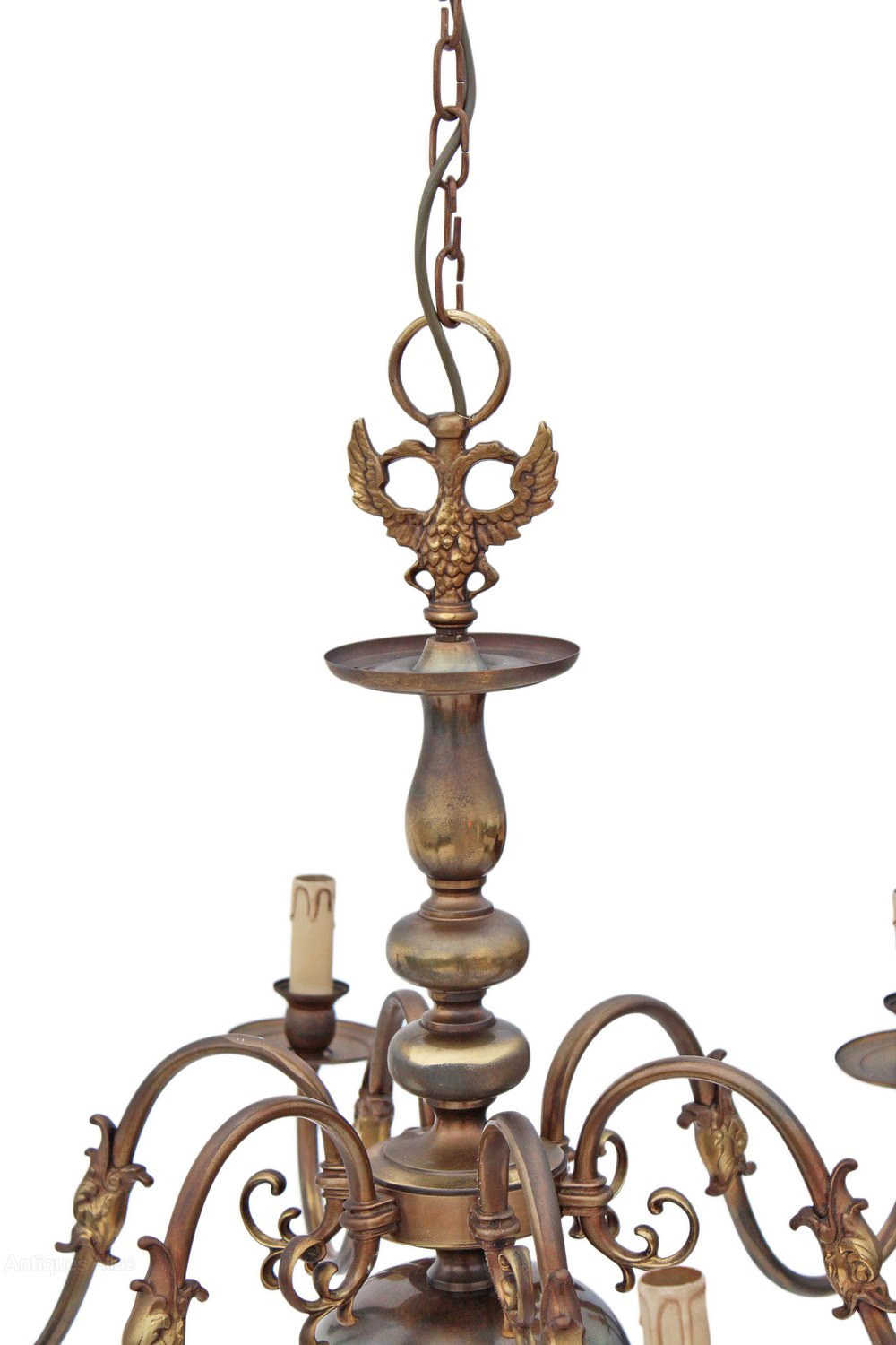 Antiques Atlas Flemish 6 Lamp Brass Bronze Chandelier