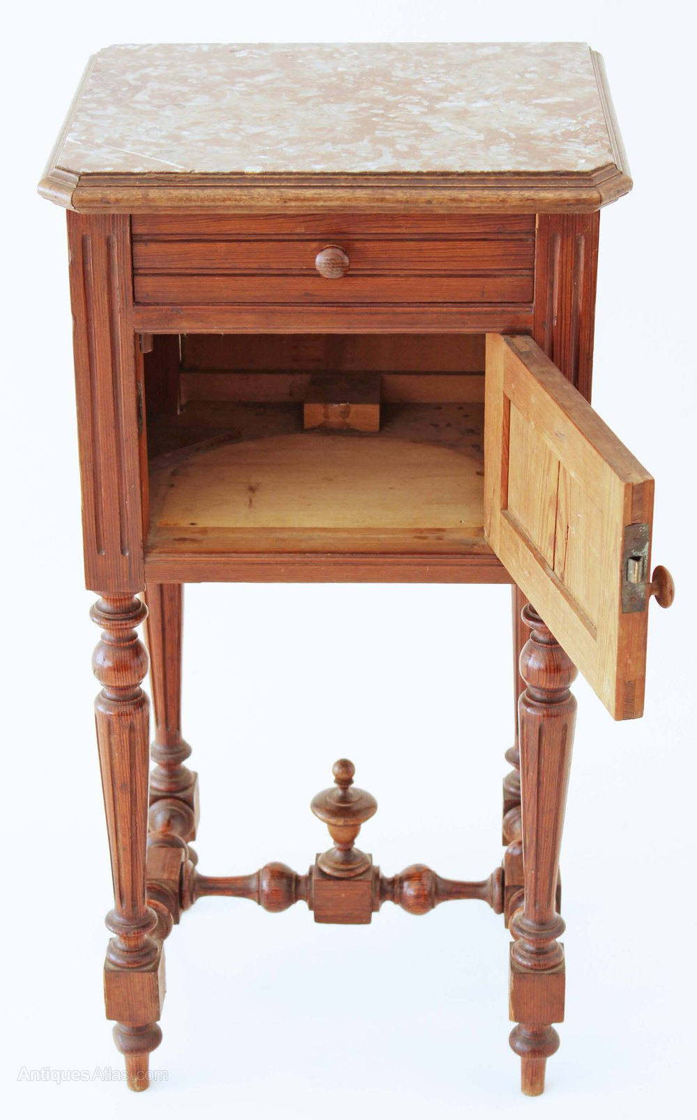 French C1900 Marble Top Bedside Table Pot Cupboard