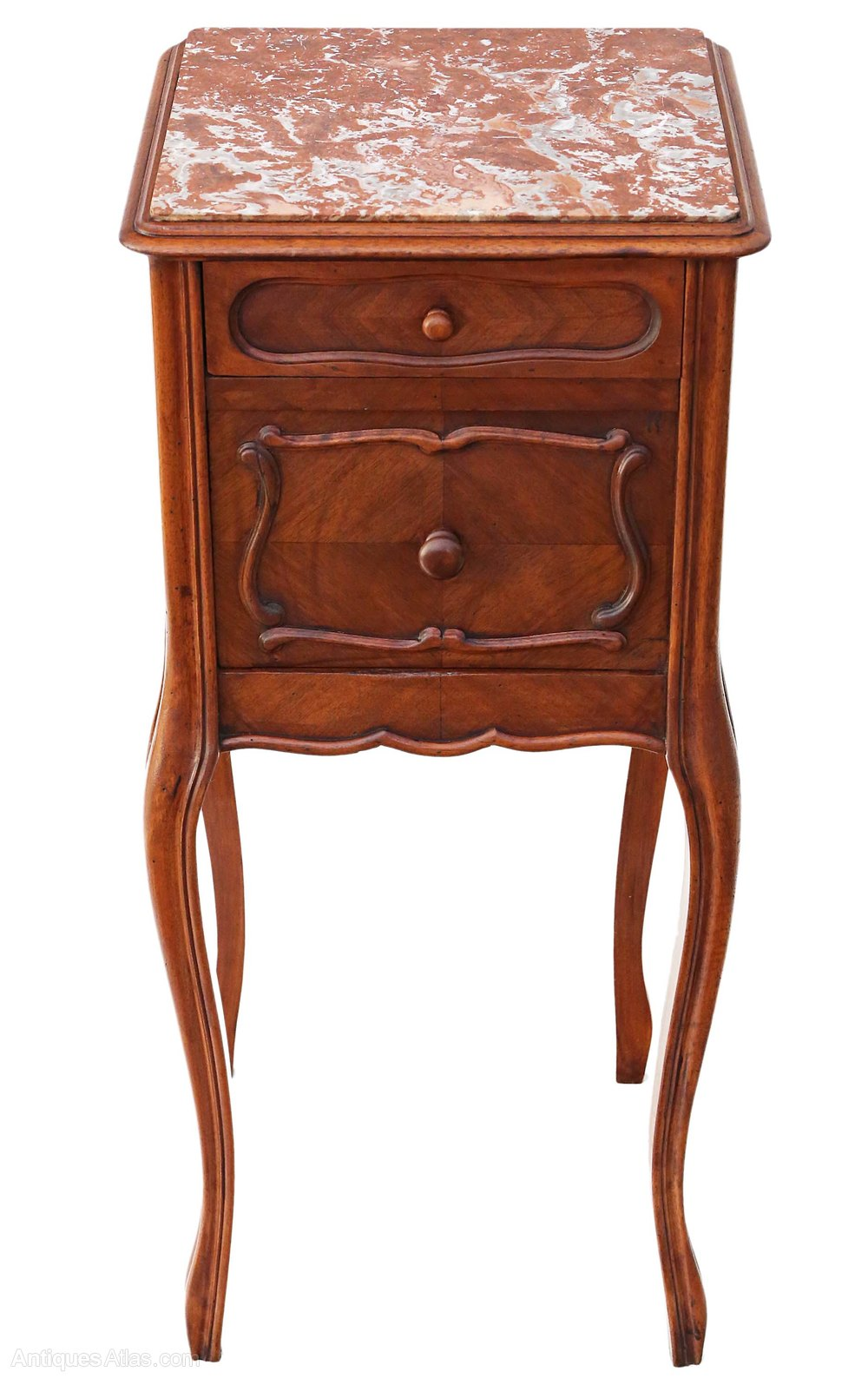 Old Bedside Table: French Walnut Marble Bedside Table Cabinet