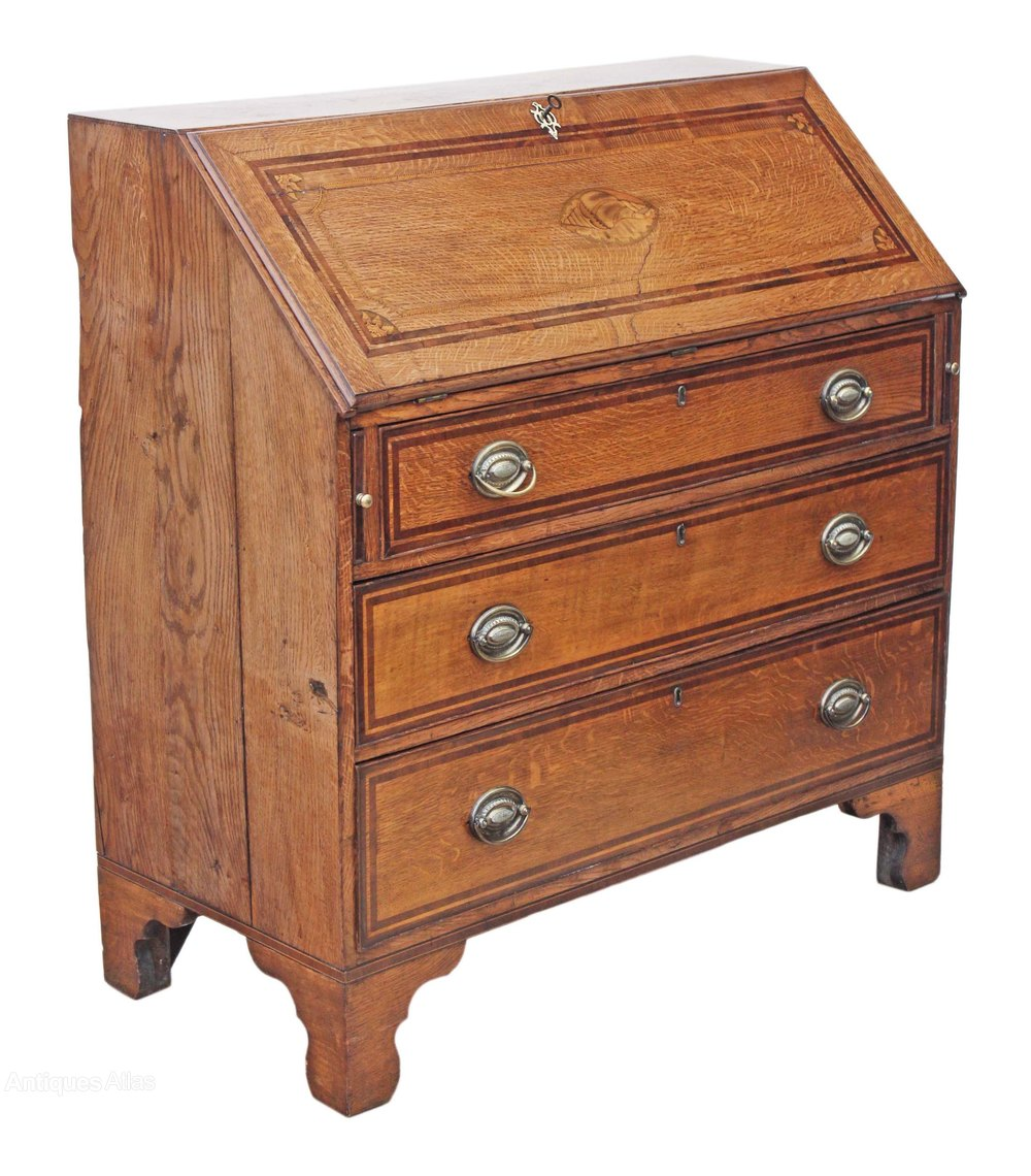 george iii inlaid crossbanded oak bureau desk antiques atlas. Black Bedroom Furniture Sets. Home Design Ideas