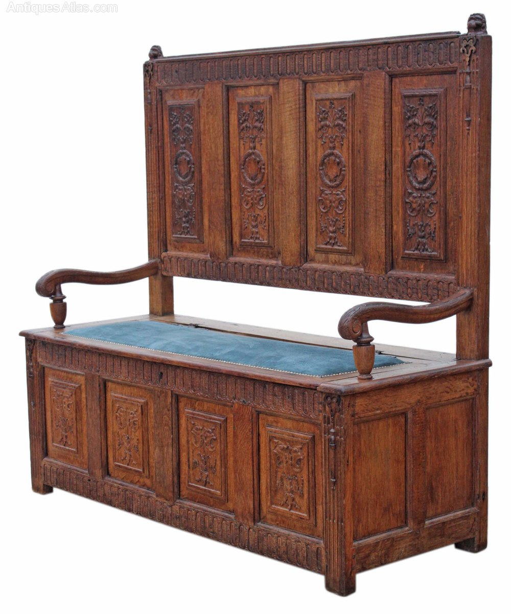 Georgian carved gothic oak settle hall seat bench