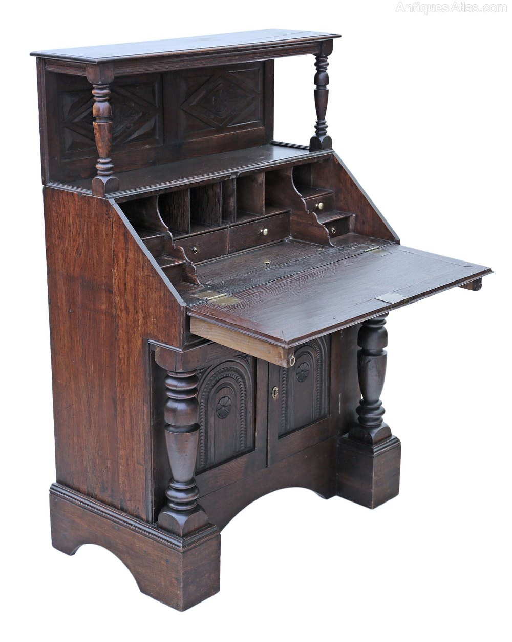 Georgian carved oak bureau desk writing table antiques atlas for Bureau table