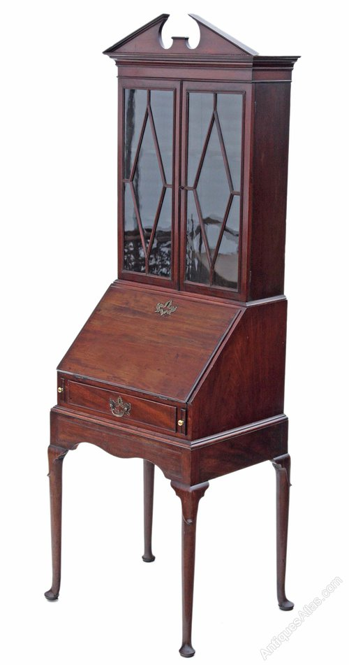 Georgian Mahogany Bureau Bookcase Desk Writing Table