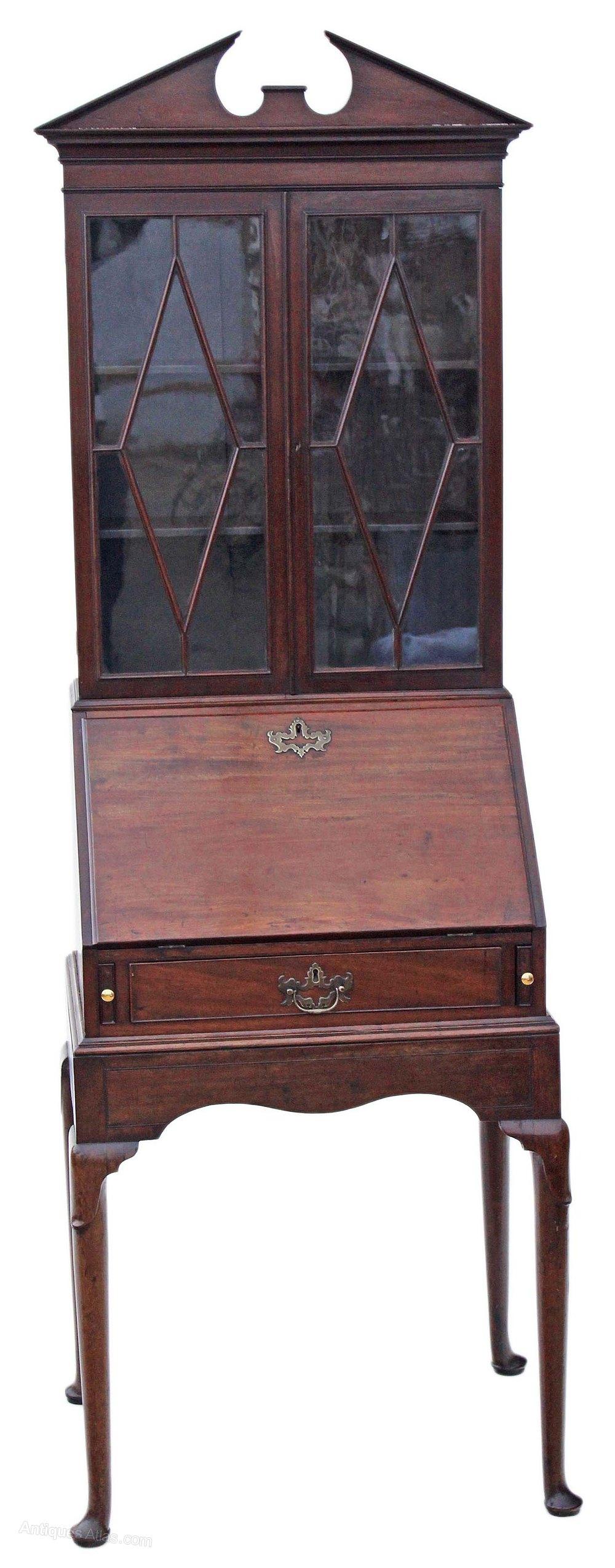 Georgian mahogany bureau bookcase desk writing table for Bureau writing desk