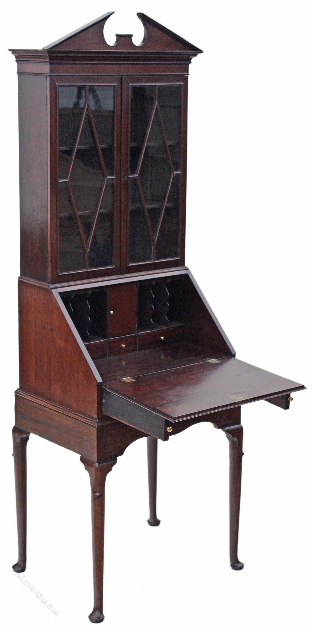 Georgian Mahogany Bureau Bookcase Desk Writing Table