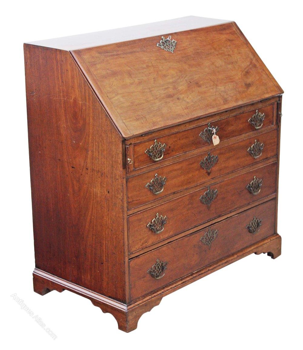 Georgian mahogany bureau desk writing table antiques atlas for Bureau writing desk
