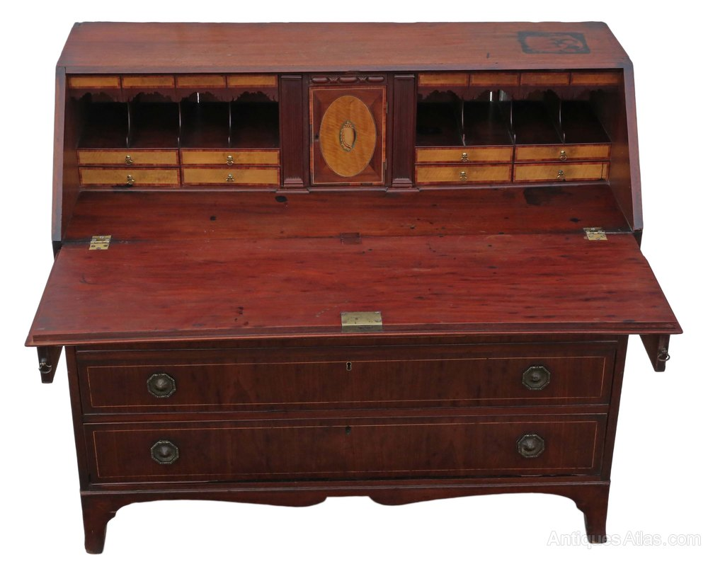 Georgian mahogany bureau desk writing table antiques atlas for Bureau antique