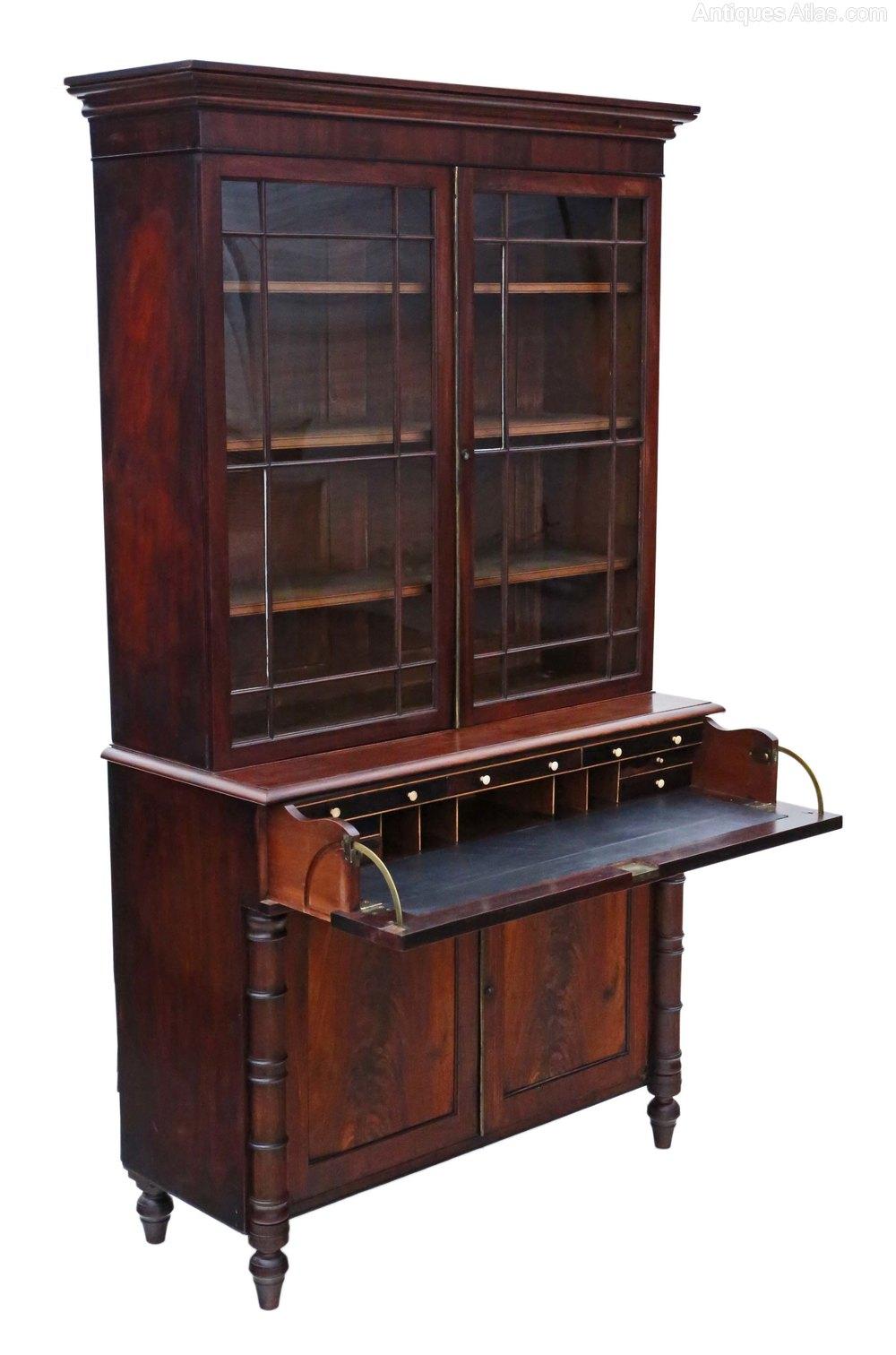 Georgian Mahogany Secretaire Bookcase Desk Writing