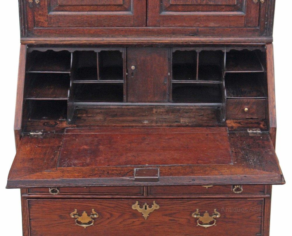 Georgian oak bureau bookcase desk writing table antiques for Bureau table
