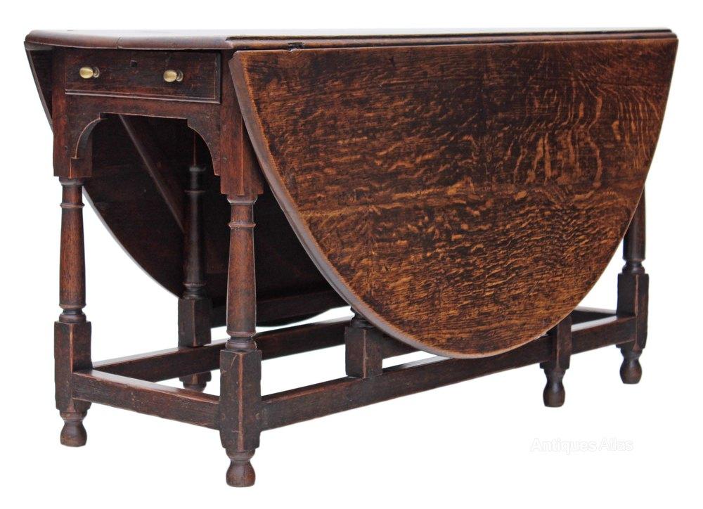 Georgian oak gateleg drop leaf dining table antiques atlas for Antique drop leaf dining table