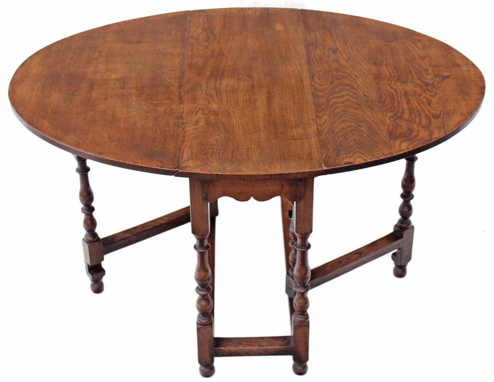 Antiques Atlas Georgian Revival Oak Dining Table Gate Leg Drop Le