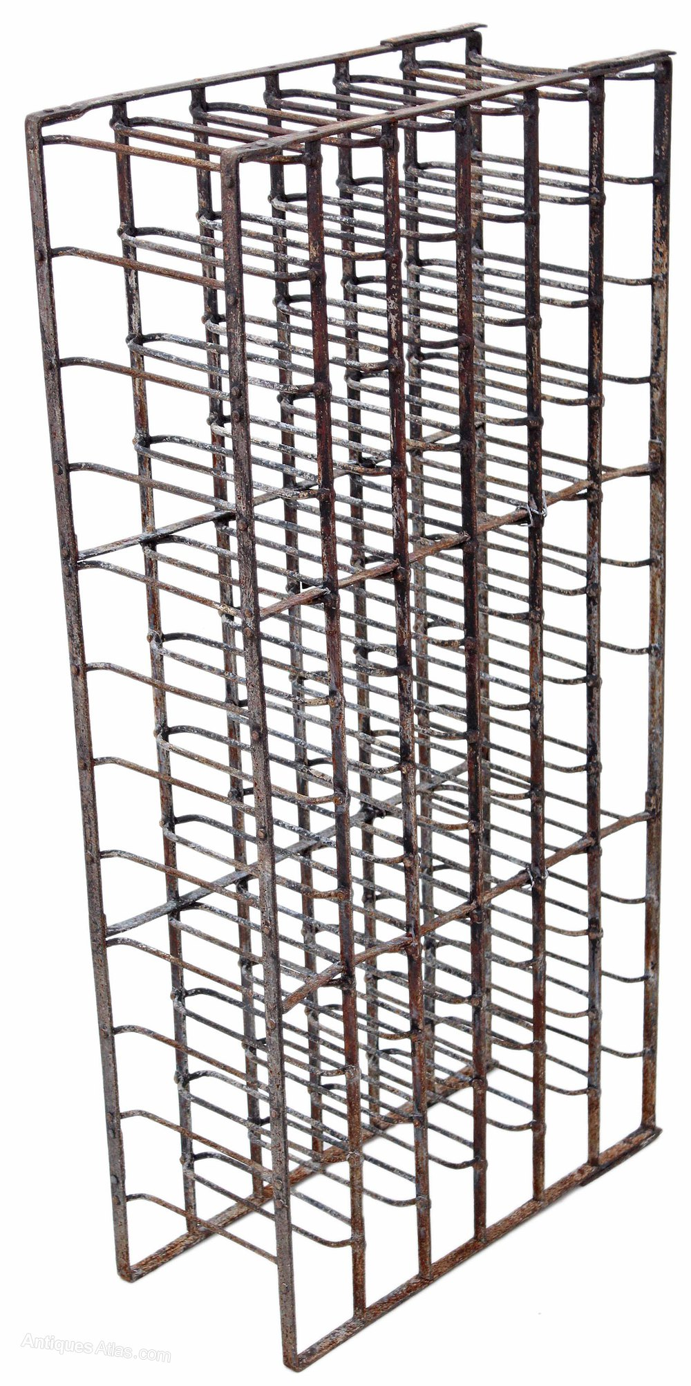 Heavy steel iron wine rack 19c 66 bottles stand for Old wine rack