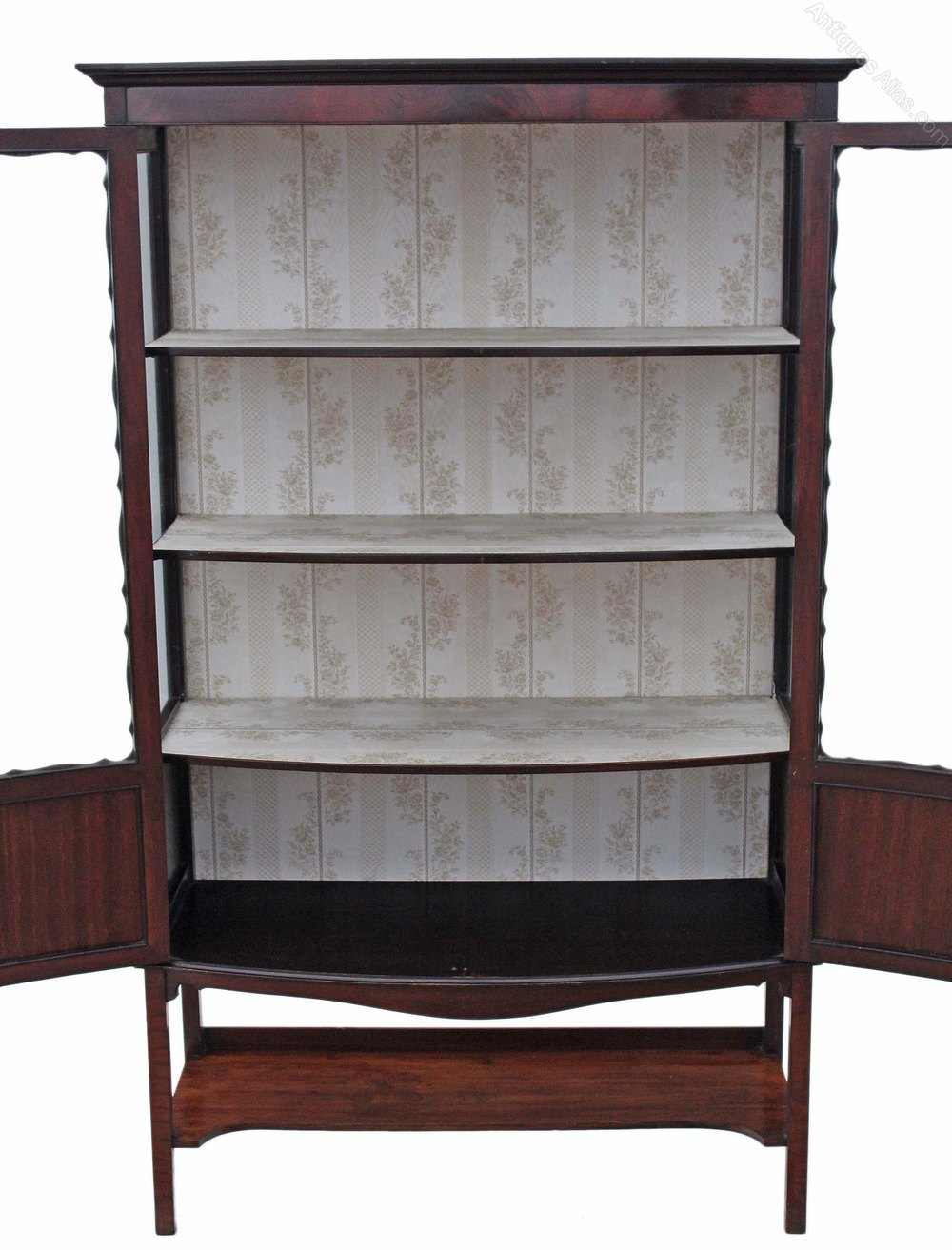 Large edwardian mahogany bow front display cabinet for Antique display cabinet