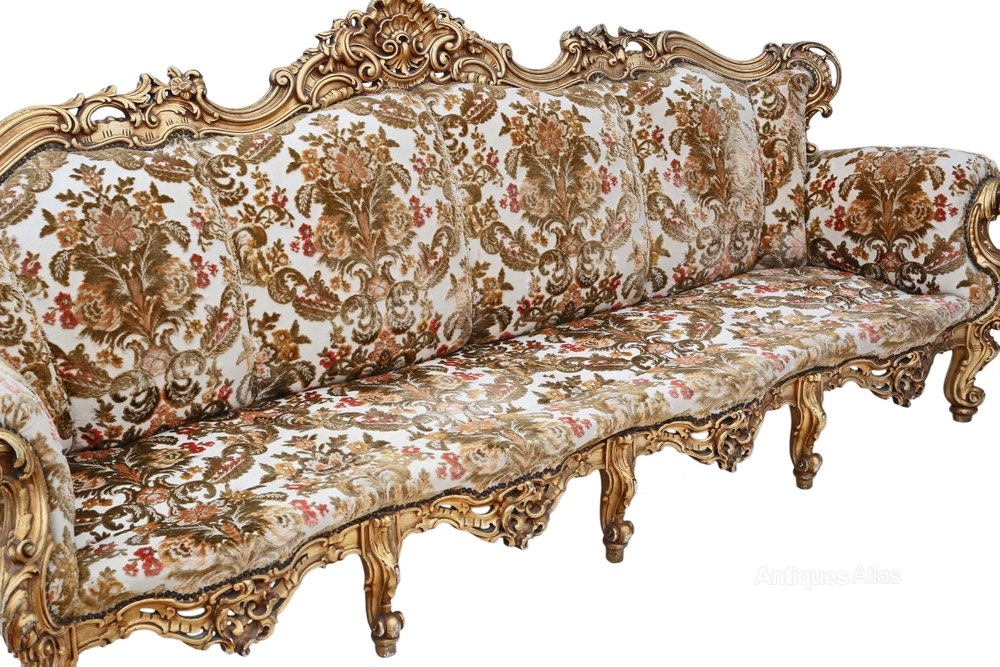 Large French Giltwood Sofa Settee Chaise Longue Antiques