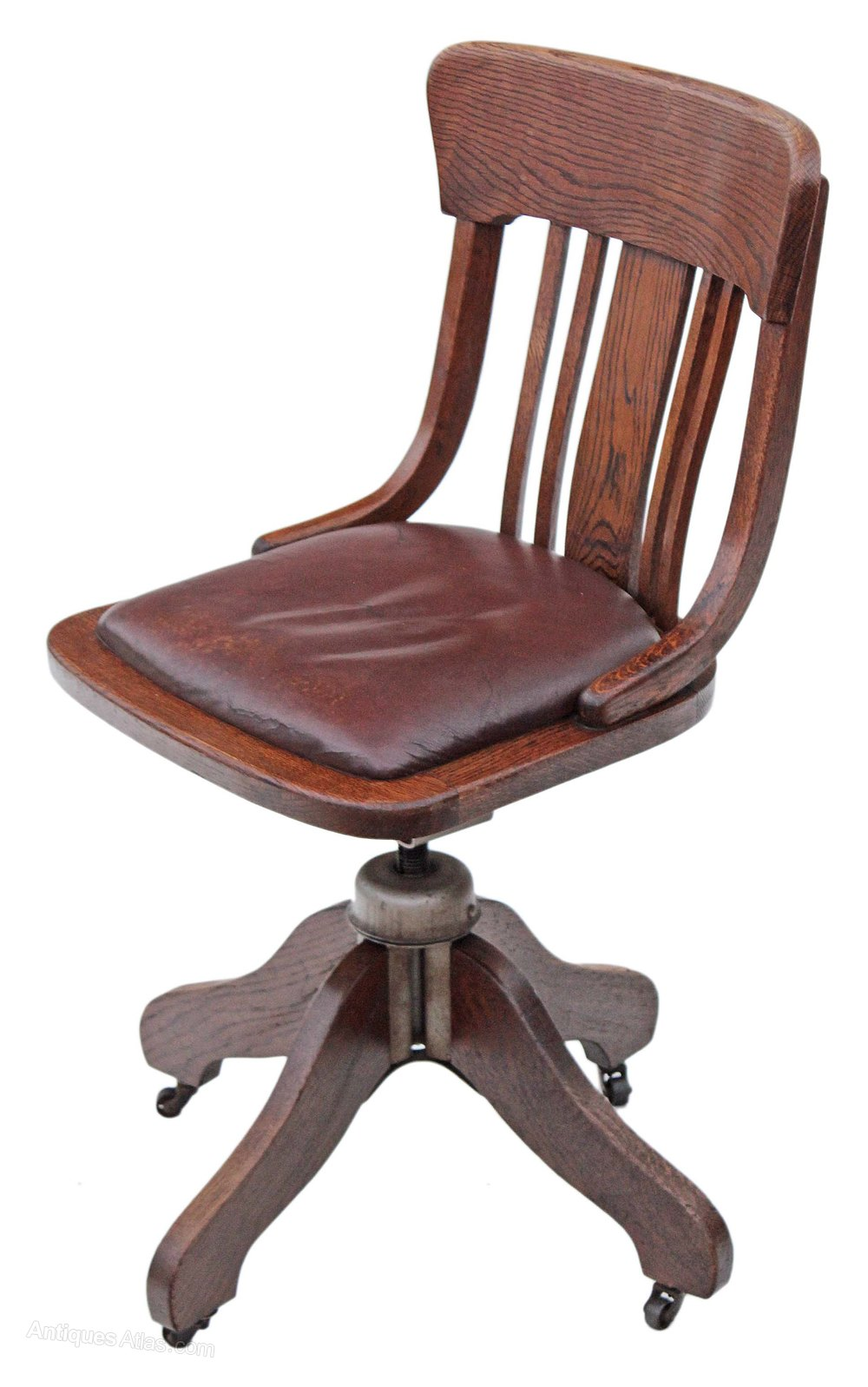Oak and leather desk office swivel chair antiques atlas for Antique desk chair