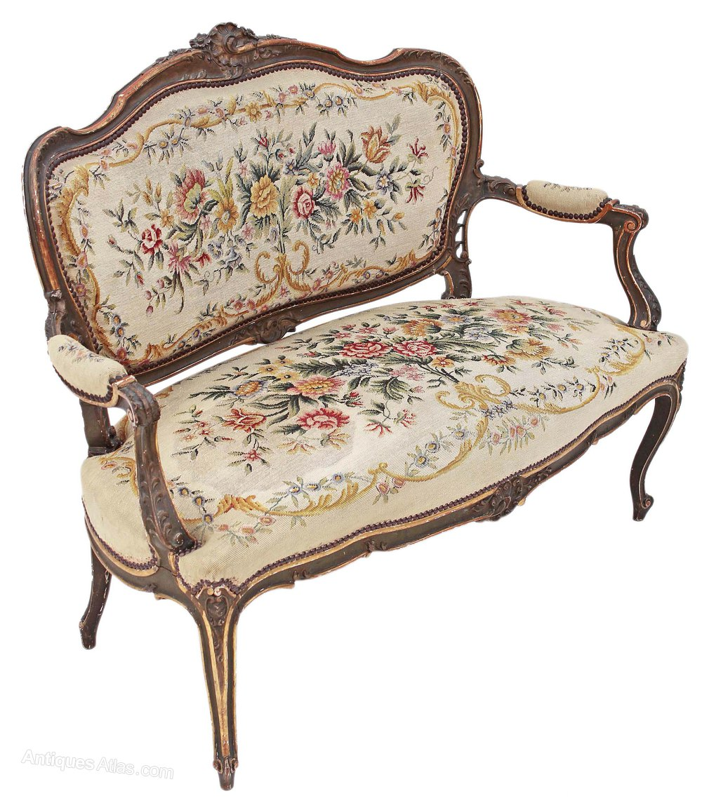 Painted louis xv sofa chaise longue antiques atlas for Chaise longue style sofa