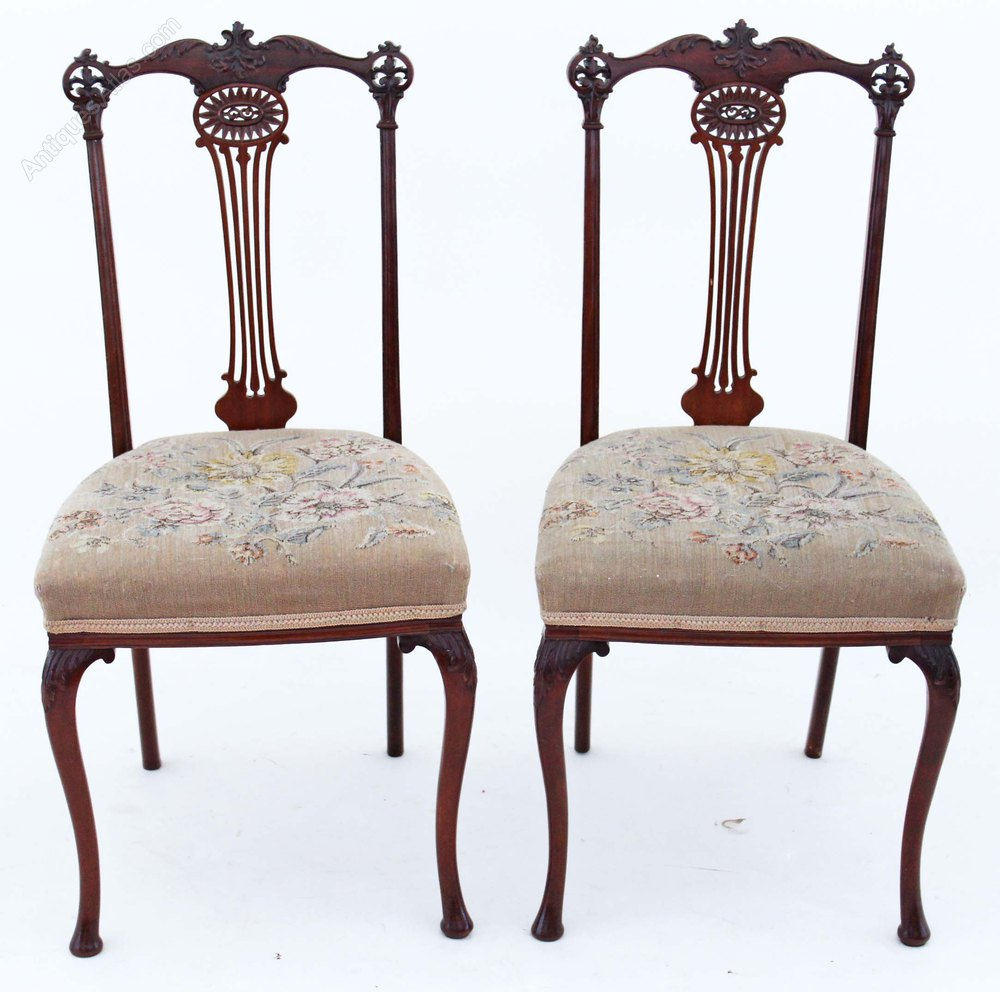 Pair J Shoolbred Mahogany Hall Side Bedroom Chairs Antiques Atlas