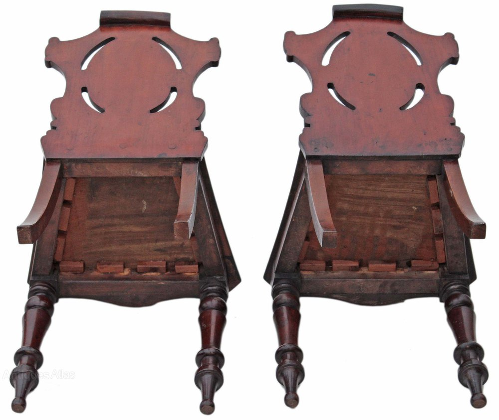 Pair Victorian Mahogany Hall Side Bedroom Chairs Antiques Atlas