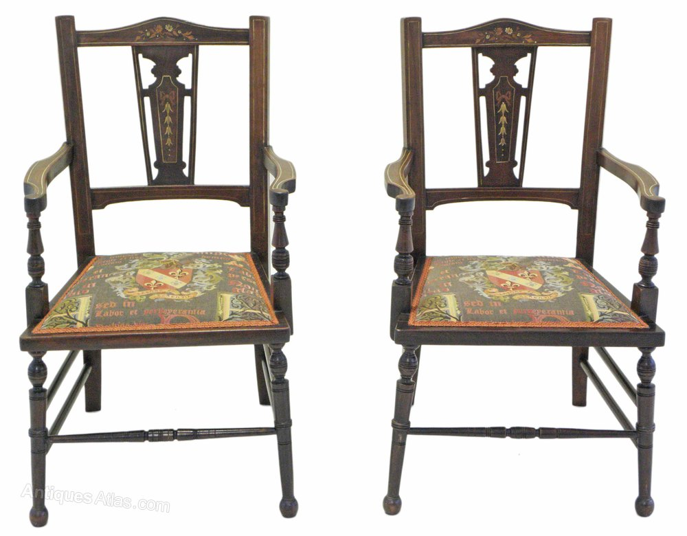Pair Mahogany And Rosewood Bedroom Hall Chairs Antiques Atlas