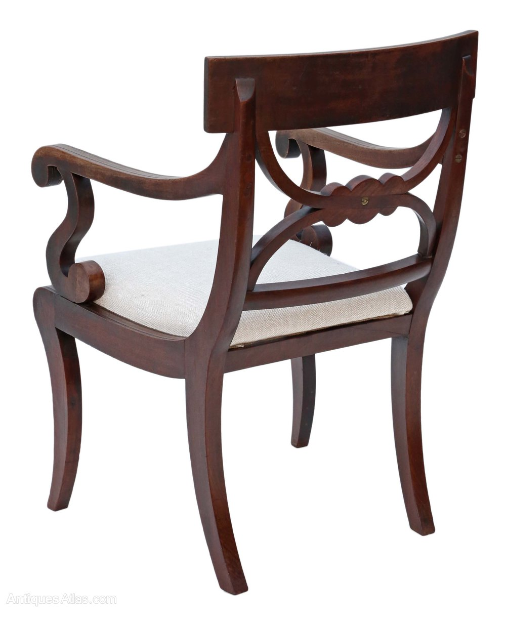 Regency C1825 Mahogany Elbow Desk Carver Chair Antiques