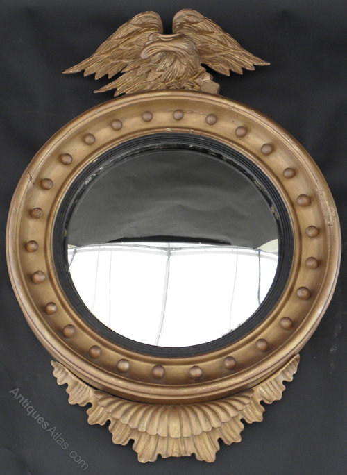 Antiques Atlas Regency Giltwood Convex Mirror With Eagle