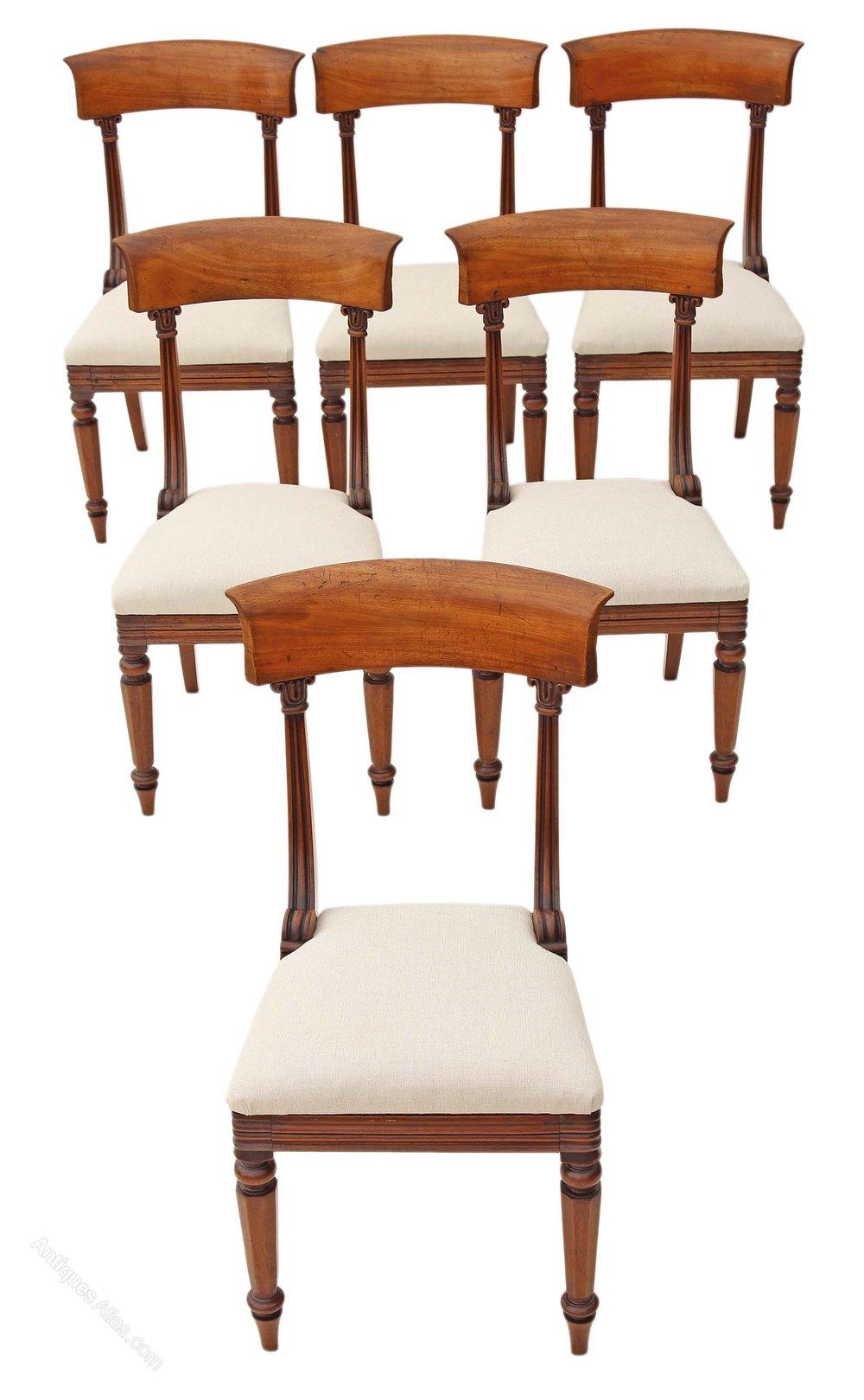 Set 6 William Iv Bar Back Mahogany Dining Chairs