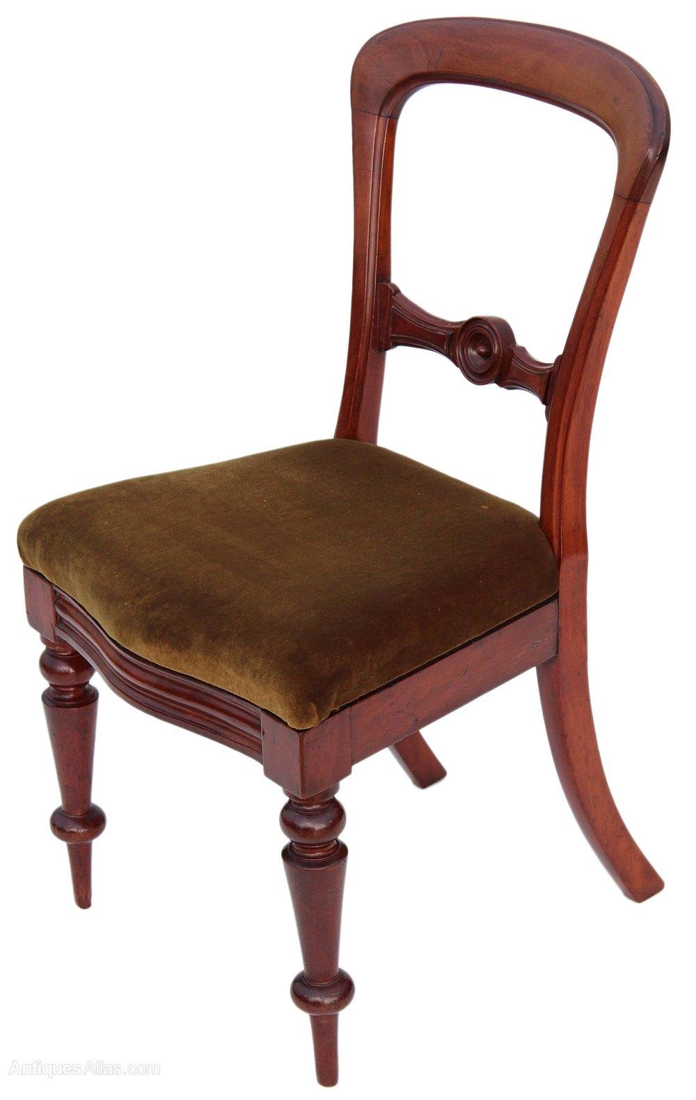 Set Of 4 Victorian Mahogany Balloon Dining Chairs