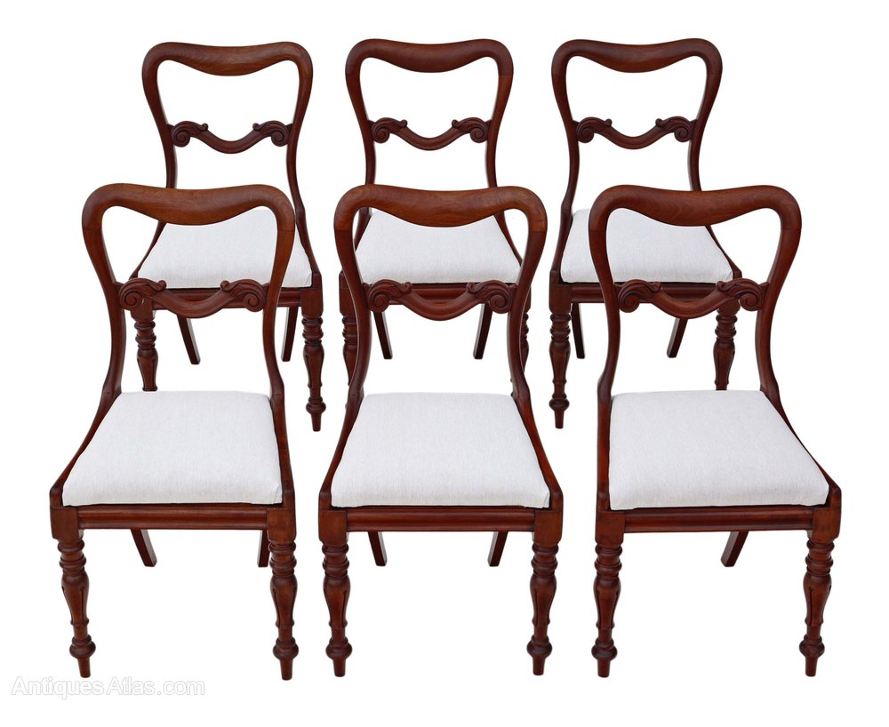 Set Of 6 Victorian Mahogany Balloon Dining Chairs