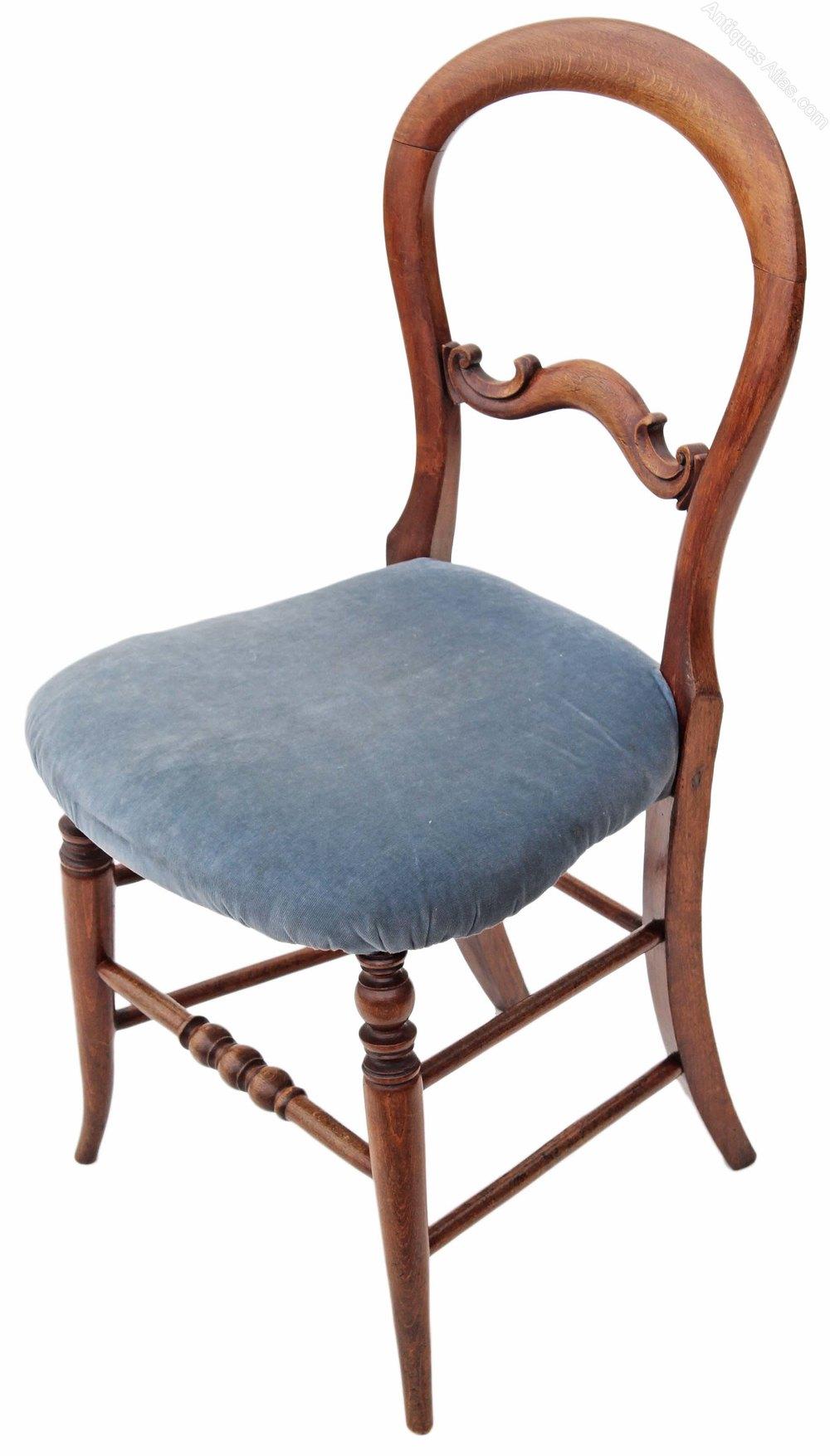 Set Of 6 Beech Victorian Dining Chairs Balloon Backs