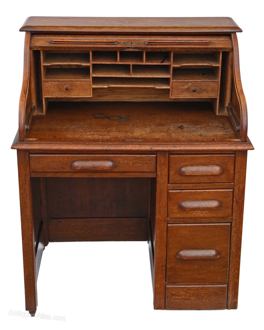 Single Pedestal Oak Roll Top Desk Writing Table Antiques