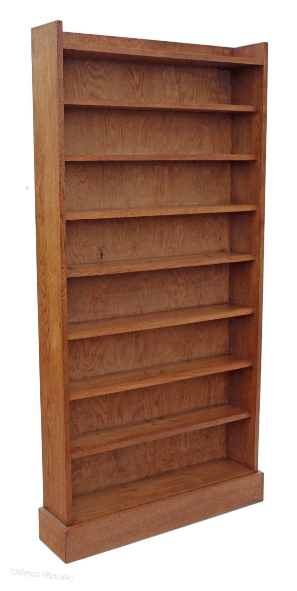 Antiques Atlas - Tall Oak Open Bookcase Shelves Display